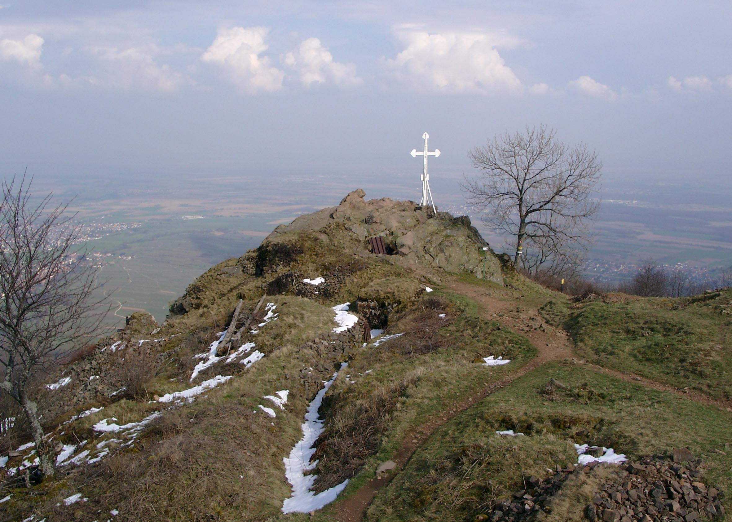 Summit Cross at the Hartmannsweilerkopf surrounded by fortifications