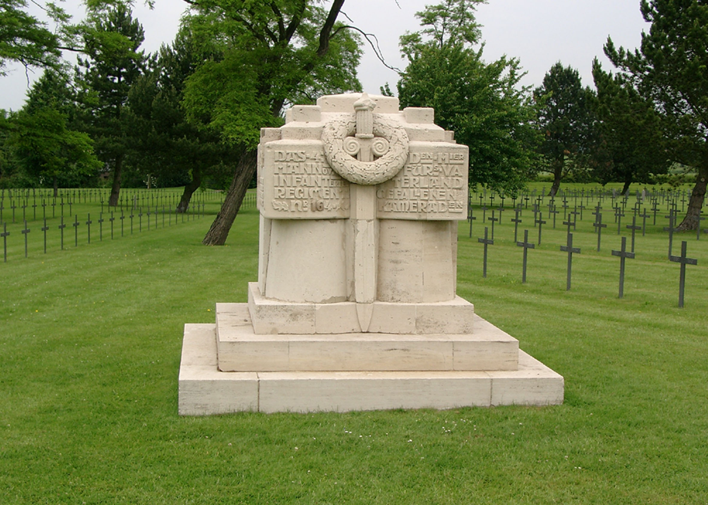 Monument fromInfanterie-Regiment 164 at the German Military Cemetery at Neuville-St.-Vaast