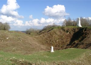 Mine Crater at the Hill of Vauquois with French Monuments